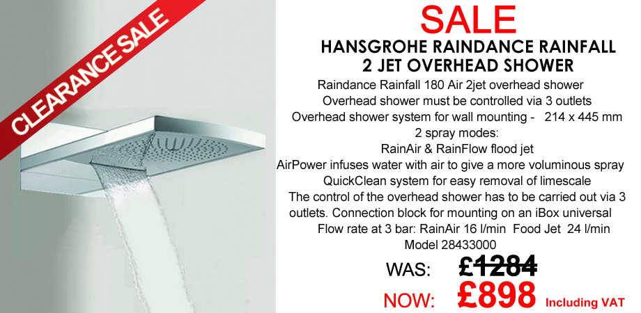 Hansgrohe Raindance Rainfall 180 Air 2jet overhead shower 28433000