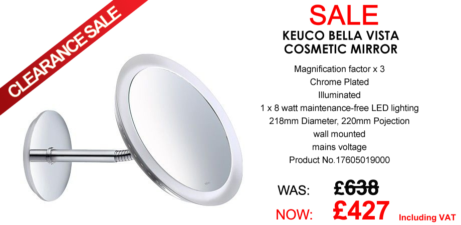 Keuco Bella Vista illuminated Cosmetic Mirror - Ex-Display Clearance Sale