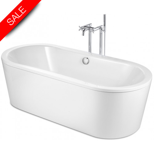 Roca - Duo Oval Plus Freestanding Bath 1800 x 800mm 0TH With A/Slip