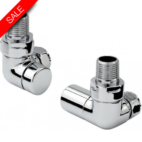 Zehnder - Contemporary Double Angled Radiator Valve Set Chrome