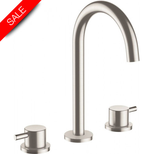 Just Taps - Inox 3 Hole Deck Mounted Basin Mixer