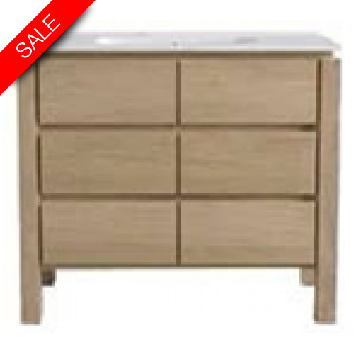 Finwood Designs - Easy Basin Unit With 3 Drawers & Basin 1TH 100x46.5cm