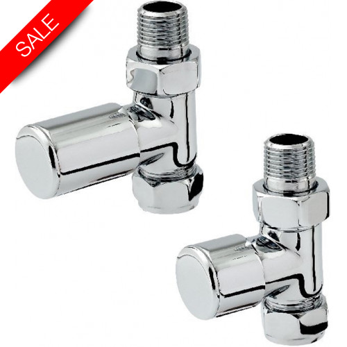 Zehnder - Stylish Straight Radiator Valve Set - Chrome