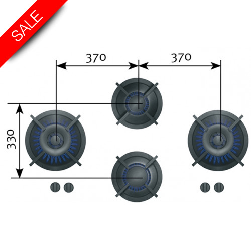 Reginox - Dempo XL 4 Gas Burners, 1x2, 1x3, 2x0.2-5kW, 953x503x90mm