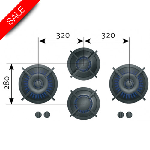 Reginox - Dempo 4 Gas Burners, 1x2, 1x3, 2x0.2-5kW, 853x503x90mm