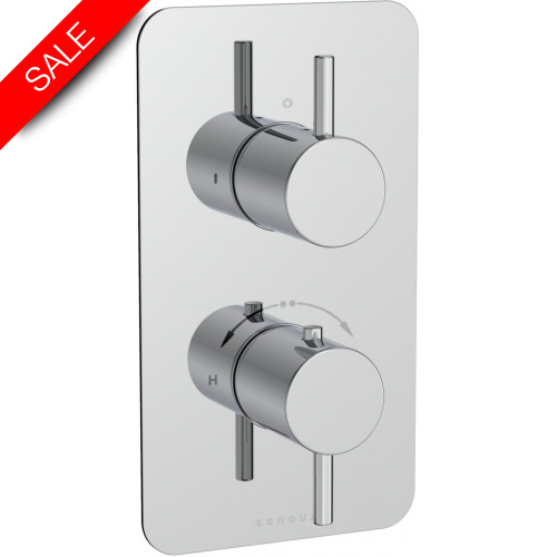 Saneux - Cos 2-Way Thermostatic Valve Handle With Plate - Round